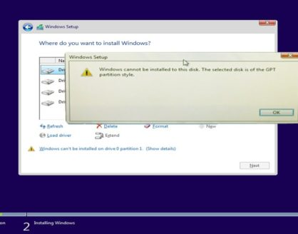 Solusi Windows Cannot be Installed on This Drive 418x328 » Windows Cannot be Installed on This Drive, Bagaimana Cara Mengatasinya?