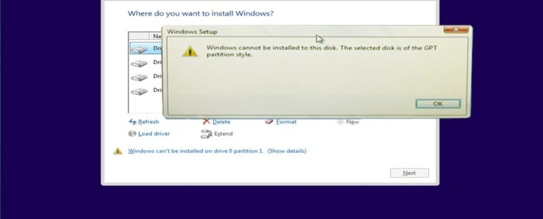 Solusi Windows Cannot be Installed on This Drive 772x312 » Windows Cannot be Installed on This Drive, Bagaimana Cara Mengatasinya?